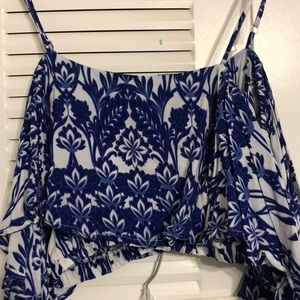 Luxxel- Blue/white Cold shoulder Crop Top. Small
